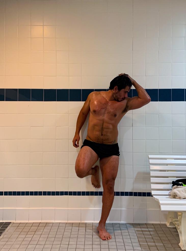 Man Relaxing post swim Workout